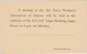 Notice Card: Meeting of the Air Force Women's Association of Ottawa, Ontario,...