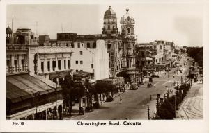 india, CALCUTTA, Chowringhee Road, Metro Cinema (1940s) RPPC Postcard