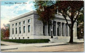 Wooster, Ohio Postcard POST OFFICE Building Street View 1916 OH Cancel