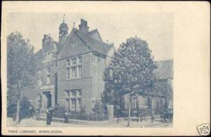 london, WIMBLEDON, Free Library (ca. 1905)