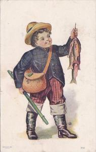 Fishing Young Boy With String Of Fish Signed Tully