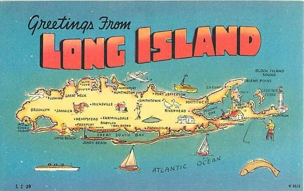 Map Card Greetings From Long Island New York State Ny Hippostcard