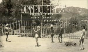 Elsinore CA Nudist Colony Nude Men Women Olympic Fields Vingtage Photo