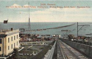H11/ Duluth Minnesota Postcard 1911 Incline Railway Weather Bureau Harbor