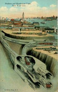 NY - New York City. Hudson & Manhattan Tube   (Transportation- Great Card!)