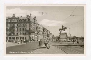 RP  Halsingborg, jarnvagsgatan med Stenbocksstatyn, 1930-40s SWEDEN