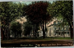 Public Library and Court Street Looking West, Westfield MA c1911 Postcard X24