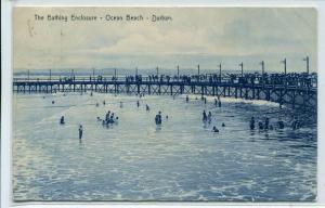 Bathing Enclosure Beach Durban KwaZulu Natal South Africa 1908 postcard