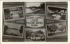 Pelican Rapids MN Dunn's Summer Lodge Multi-View c1920s Real Photo Postcard