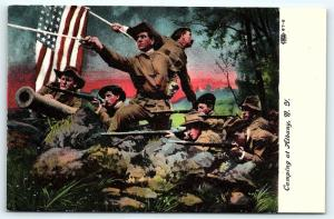 Postcard Patriotic Camping at Albany NY WW1 Soldiers Cannon Flag Guns F03