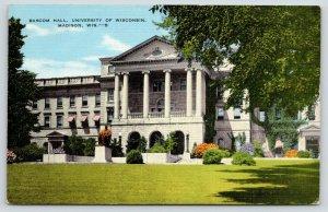 Madison WI~University of Wisconsin Campus~Bascum Hall & Statue~1940s Linen PC