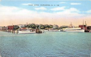 Charleston South Carolina~Yacht Basin~Ship & Boats Docked in Inland Waterway~40s