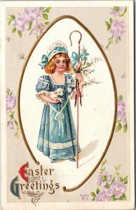 Easter Greetings Shepherdess with Lamb Crook c1915 Embossed Vintage Postcard K11