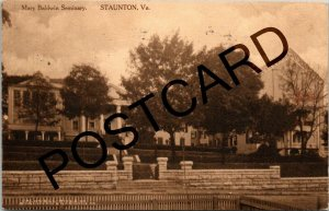 1912 STAUNTON VA Mary Baldwin Seminary, to Mr. Gilbert McDonough, postcard jj001