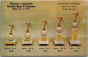 1950s Philadelphia, Pennsylvania Advertising Postcard SPIKE'S TROPHIES Bowling