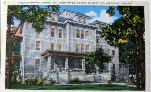 1940s Anderson IN Postcard Gospel Trumpet Company Girls Dormitory Front Porch