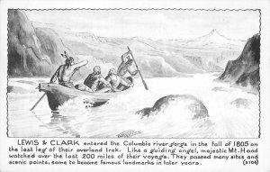 LEWIS & CLARK Columbia River Indians, Canoe Oldfield Art c1940s Vintage Postcard