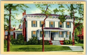 Montgomery, Alabama Postcard First White House of The Confederacy Linen 1942