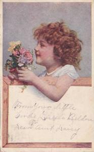 Girl holding bouquet of flowers, PU-1908