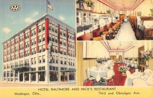Muskogee Oklahoma Hotel Baltimore Nicks Restaurant Linen Antique Postcard K22075
