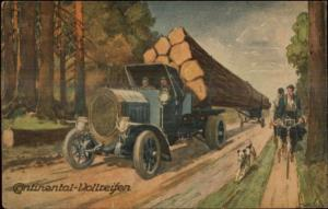 Automovite Truck or Tires Continental Logging Truck German 1921 Postcard