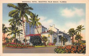 Whitehall Hotel, Beautiful Palm Beach, Florida, Early Linen Postcard, Unused