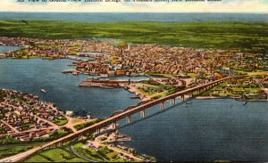 Connecticut New London Aerial VIew Of Groton New London Bridge On Thames River