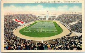 Los Angeles, CA Postcard COLISEUM, EXPOSITION PARK Football Field Linen 1940s
