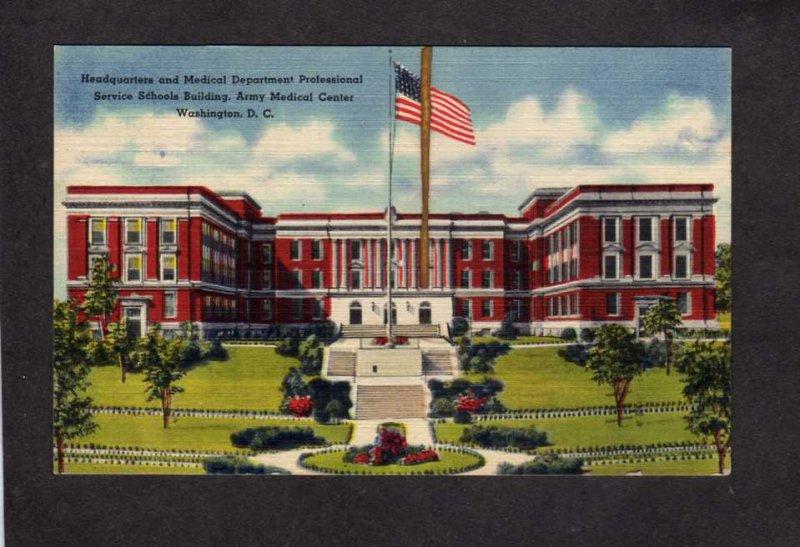 DC Army Medical Center Military School Washington DC Postcard Linen PC