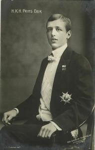Prince Erik, Duke of Västmanland, in Uniform, Medals (1907) RPPC