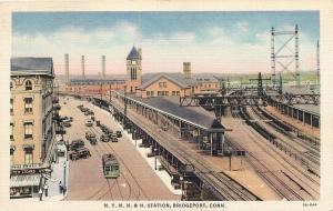 Bridgeport CT~NYNH&H Railroad Station~Elevated Platform~United Cigar Store~1935