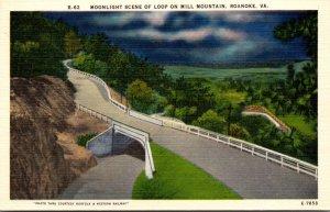 Virginia Roanoke Moonlight SCene Of The Loop On Mill Mountain
