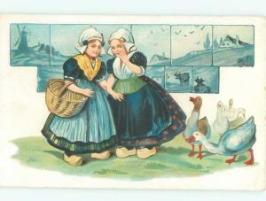 Pre-Linen GOOSE BIRDS BESIDE GIRLS AC1193