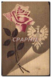 Old Postcard Fantasy Flowers Eagle (wooden board)