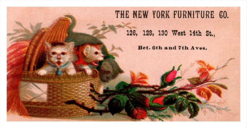 13422   Trade Card  NY City Furniture Co.   Cats in basket