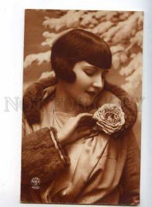 240016 FASHION Belle Woman in FUR Coat Vintage PHOTO postcard