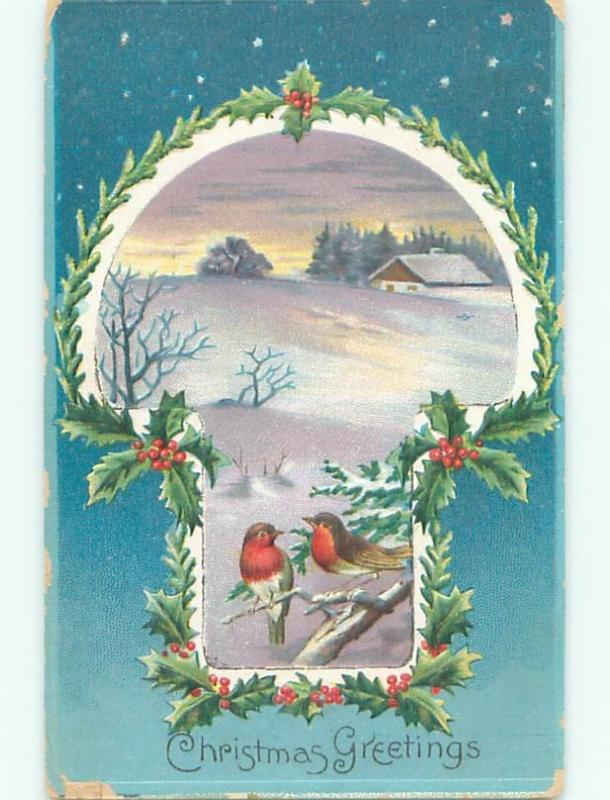 Pre-Linen christmas BIRDS ON BRANCH ON WINTER NIGHT W7256