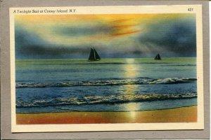 Postcard NY Coney Island Beach Scene Sunset Sailboat Shoreline 2466N
