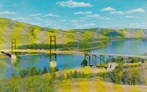Canada Dunvegan Suspension Bridge Over Peace River Alberta