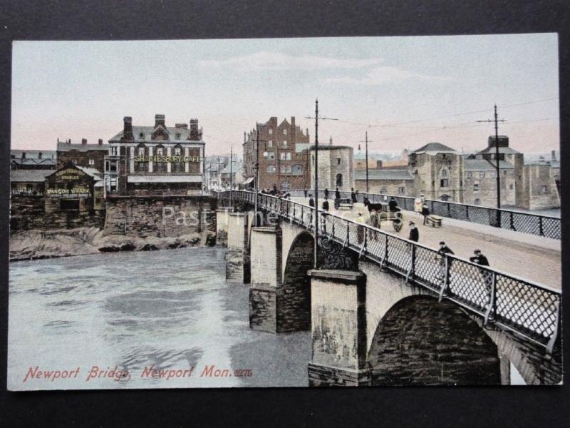 Monmouthshire : Newport Pont Bangor Quai & Shaftesbury Café c1908 par M. J. R.b
