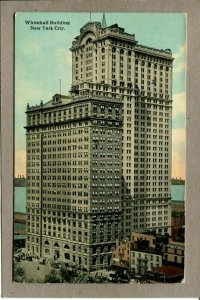 Postcard NY Whitehall Building Old Cars Water -986