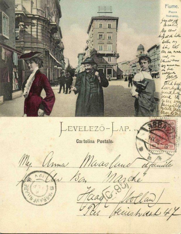 croatia, FIUME RIJEKA, Piazza Andrassy, Cambio Valute, Currency Exchange (1905)