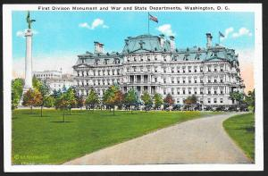 First Division Monument & War State Departments Washington DC Unused c1920s