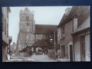 East Sussex SEAFORD Church Street CHURCH & THE OLD PLOUGH INN - Old RP Postcard