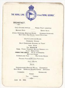 Royal Line Steamer  T.T.S.S. ROYAL GEORGE Breakfast Menu card , May , 28 , ...