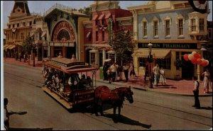 Disneyland Main Street USA, Horse Pulling Tram, Crystal Arcade, Upjohn Pharmacy