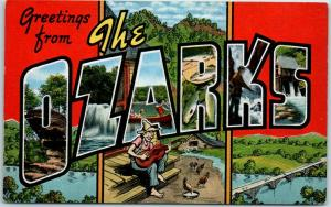 1940s Large Letter Postcard THE OZARKS Missouri Arkansas KROPP Linen Unused