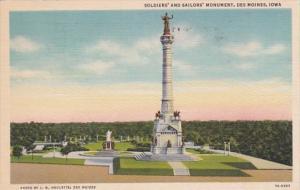 Iowa Des Moines Soldiers and Sailors Monument 1941 Curteich