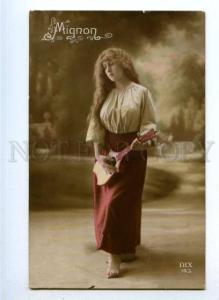 177590 MIGNON Opera Singer LONG HAIR Mandolin Vintage PHOTO PC