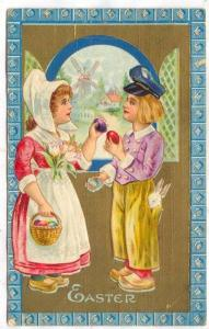 Easter Greetings, Boy & A Girl, Rabbit, Basket With Colorful Eggs, Windmill, ...